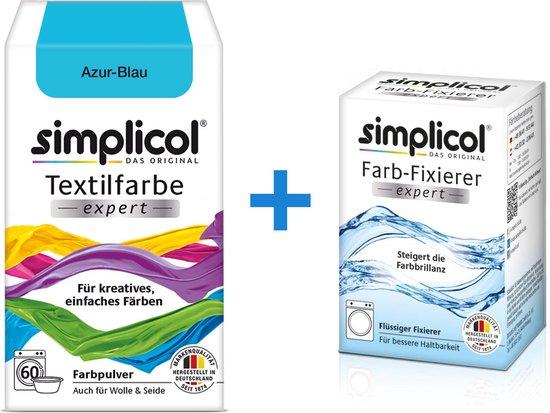 Simplicol Textielverf Expert met Color Fixer - Textielverf voor wasmachine of handwas - Azuur Blauw
