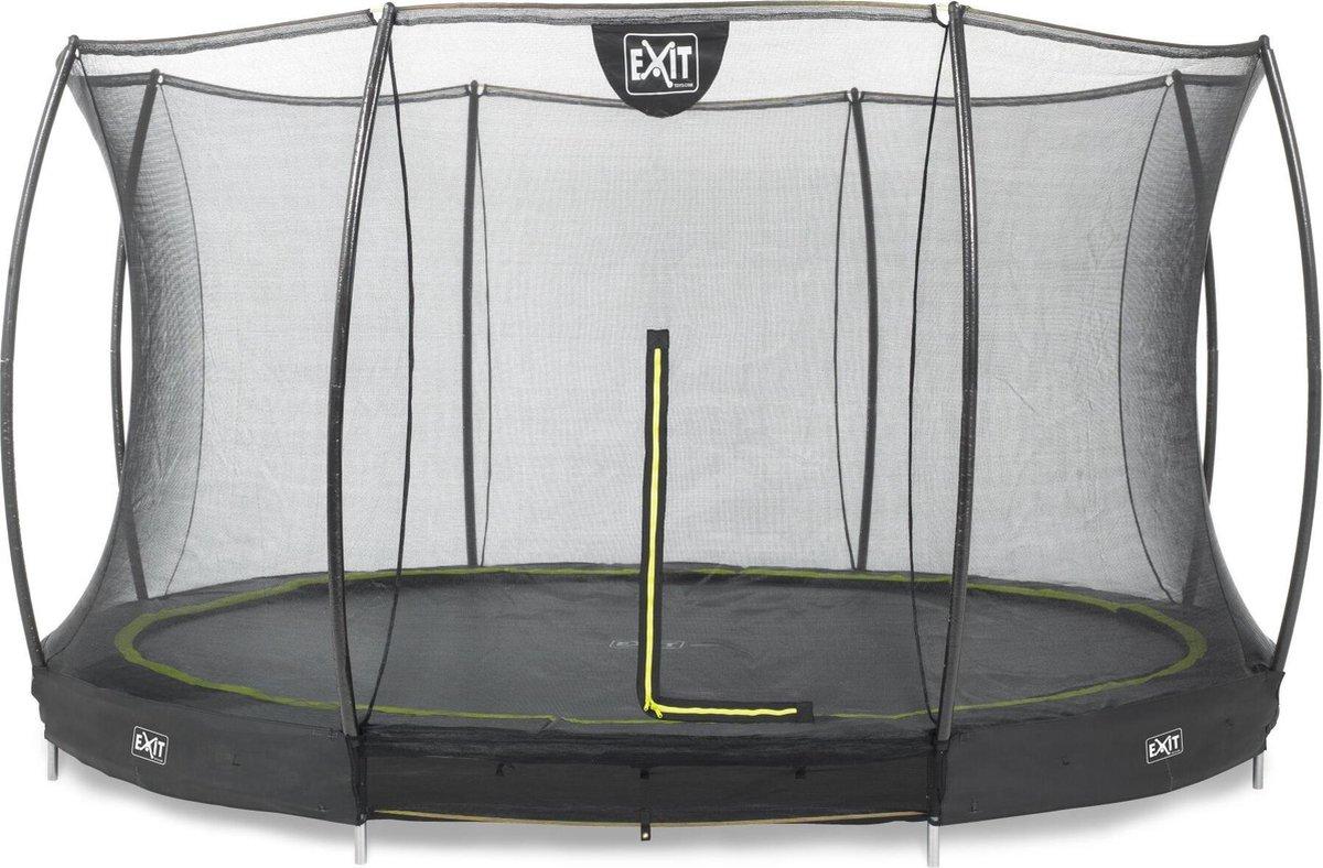 Trampoline EXIT Silhouette inground - ø366cm - met veiligheidsnet - zwart