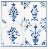 Thea Gouverneur - Borduurpakket met telpatroon - 483 - Voorgesorteerde DMC Garens - Delfts Blauwe Tegels Bloemvazen - Linnen - 28 cm x 28 cm - DIY Kit
