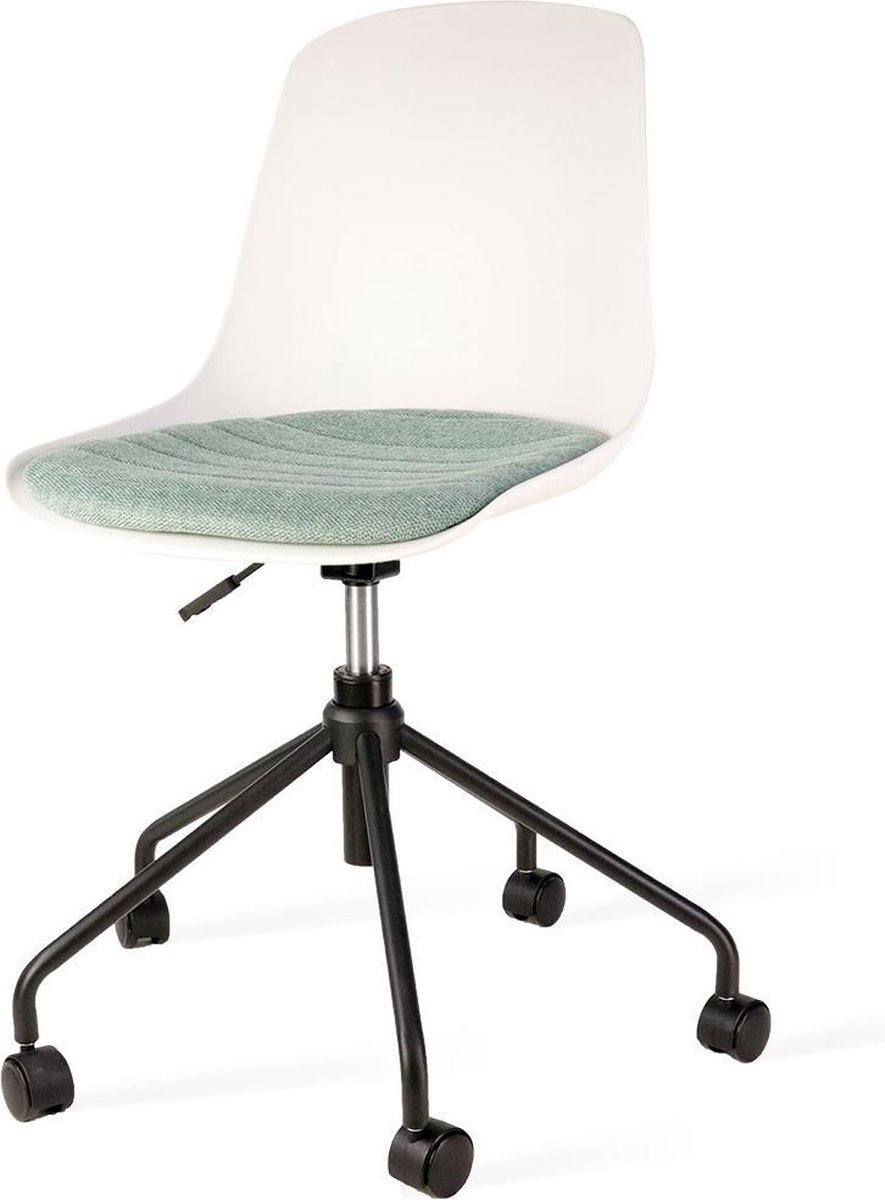Nolon Nout bureaustoel zwart - Witte zitting en zacht groen zitkussen