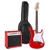Elektrische gitaar starterset - Johnny Brook JB404 elektrische gitaar starterset met gitaar, 20W versterker en alle benodigde accessoires – Rood