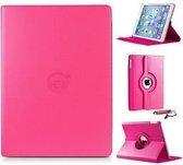 Hard roze 360 graden draaibare hoes Apple iPad 9,7 (2017) 5e generatie met handige styluspen, hoesje Apple iPad, iPad hoes
