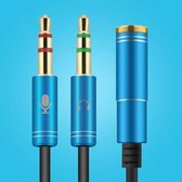 3.5mm Jack Aux Female Dual Male Headset Microfoon 4-Pin Audio Splitter - Blauw