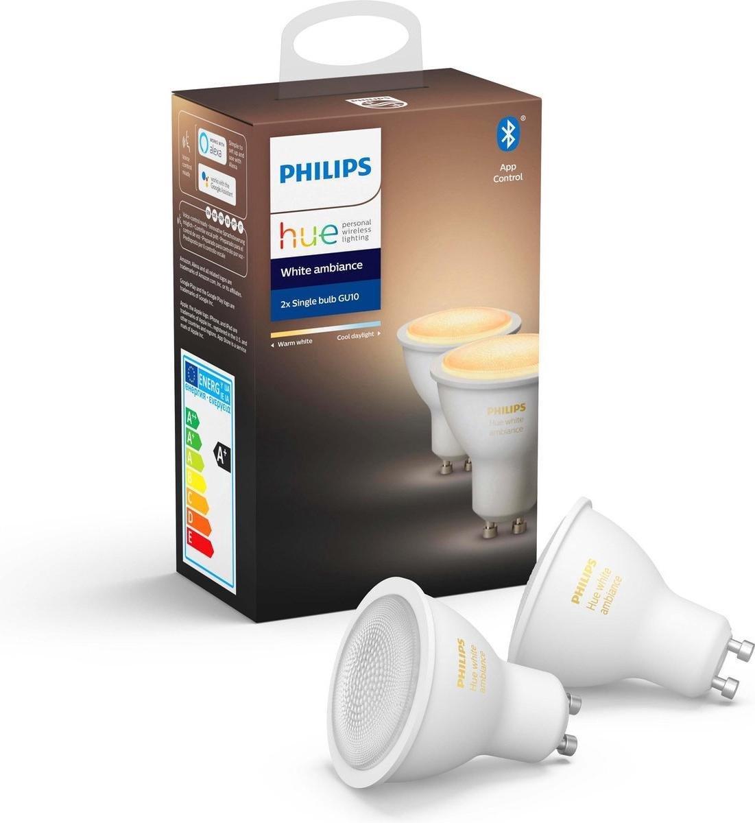 PHILIPS HUE - LED Spot Set GU10 - White Ambiance - Bluetooth - Pragmi Zano Pro - Inbouw Vierkant - Mat Zwart/Wit - Kantelbaar - 93mm