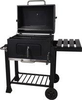 Houtskool BBQ op wielen + tafel   Mat zwart - X86000060