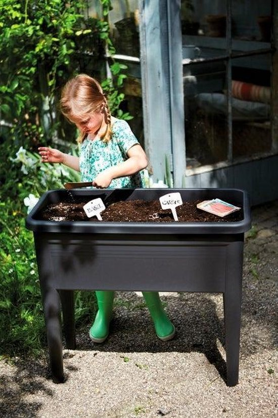 Elho Green Basics Kweektafel Xxl - Plantenbak voor Buitenkweken En Oogsten - Ø 75.5 x H 65.1 - Zwart
