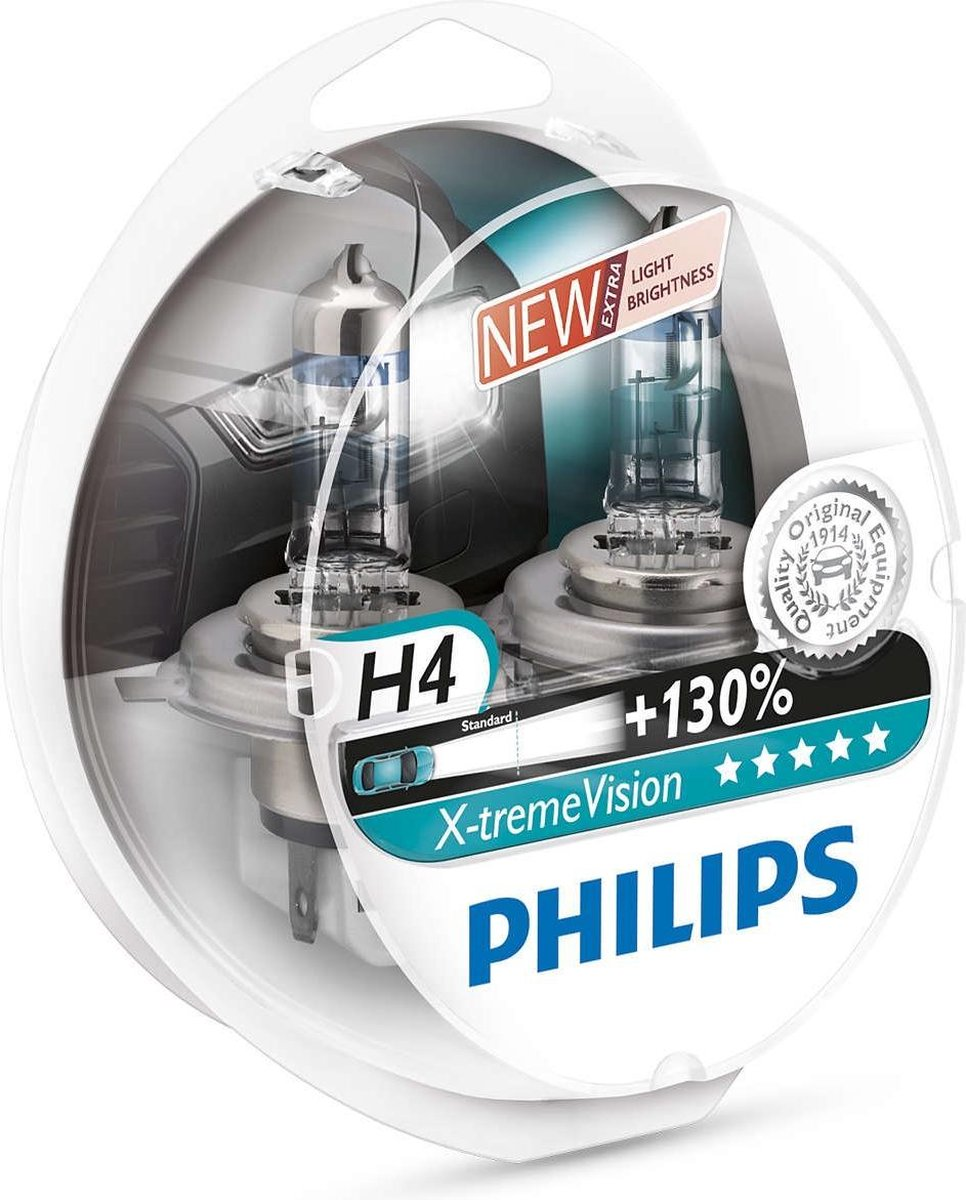 Philips X-tremeVision - Auto Koplamp H4 - 12V 55/60W - 2 Stuks