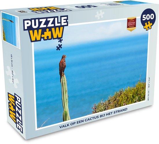 Puzzel 500 stukjes Valk - Valk op een cactus bij het strand  - PuzzleWow heeft +100000 puzzels