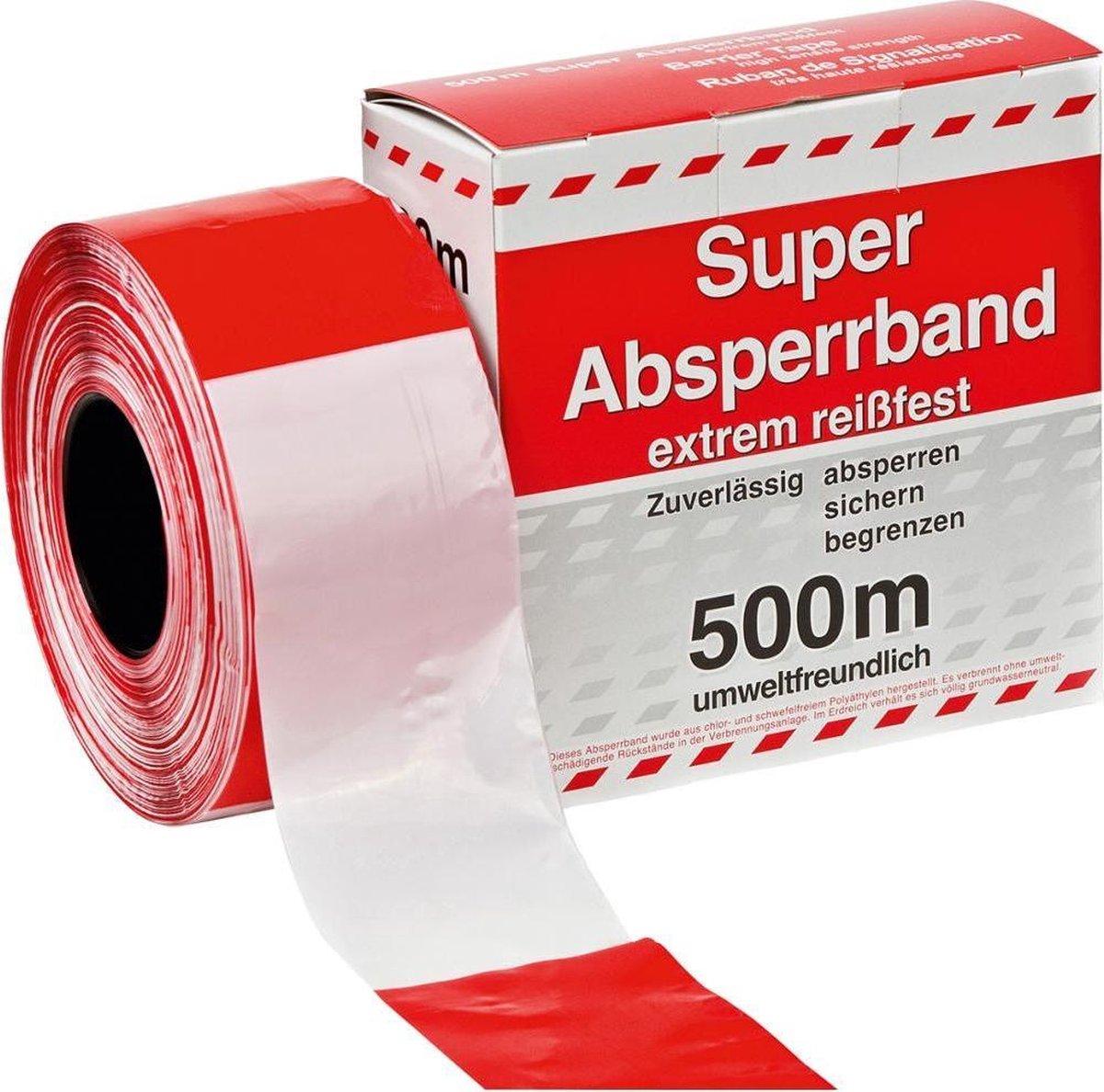 Afzetlint rood/wit 500 meter in dispenserdoos