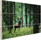 Edelhert in het bos Hout 30x20 cm - klein - Foto print op Hout (Wanddecoratie)