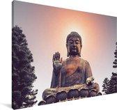 Zonsondergang achter het hoofd van de Tian Tan Boeddha Canvas 90x60 cm - Foto print op Canvas schilderij (Wanddecoratie woonkamer / slaapkamer)