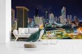 Panama Stad prachtig verlicht in de avond fotobehang vinyl 605x340 cm - Foto print op behang