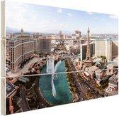Bellagio fontein Las Vegas Hout 60x40 cm - Foto print op Hout (Wanddecoratie)
