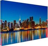 New York Skyline nacht Canvas 120x80 cm - Foto print op Canvas schilderij (Wanddecoratie woonkamer / slaapkamer) / Steden Canvas Schilderijen