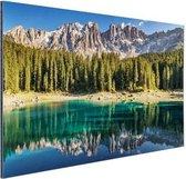 Dolomieten Lago Carezza Italië Aluminium 180x120 cm - Foto print op Aluminium (metaal wanddecoratie) XXL / Groot formaat!