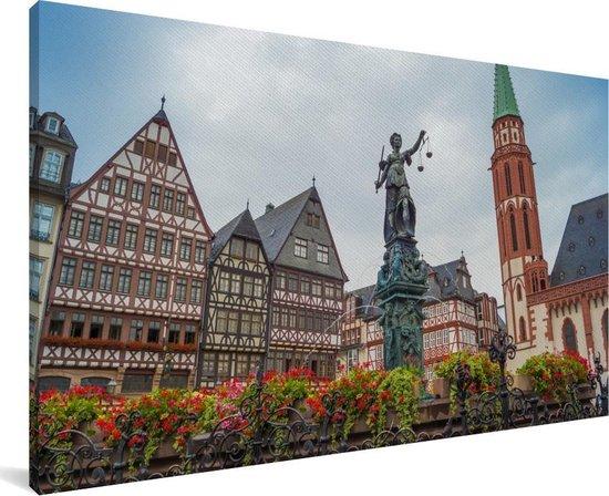 Kleurrijke huizen en bloemen in Frankfurt am Main Canvas 40x20 cm - Foto print op Canvas schilderij (Wanddecoratie woonkamer / slaapkamer) / Europese steden Canvas Schilderijen