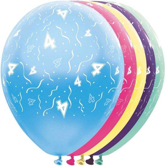 Ballonnen 4 jaar - feestballon - 5 stuks - ballon