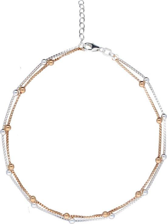 Classics&More enkelbandje - zilver - zilver roségoudverguld - venetiaans - 2 strengen - 23 + 3 cm - Silver Lining