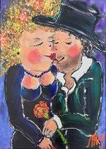 Schilderij RED LIPS handgeschilderd