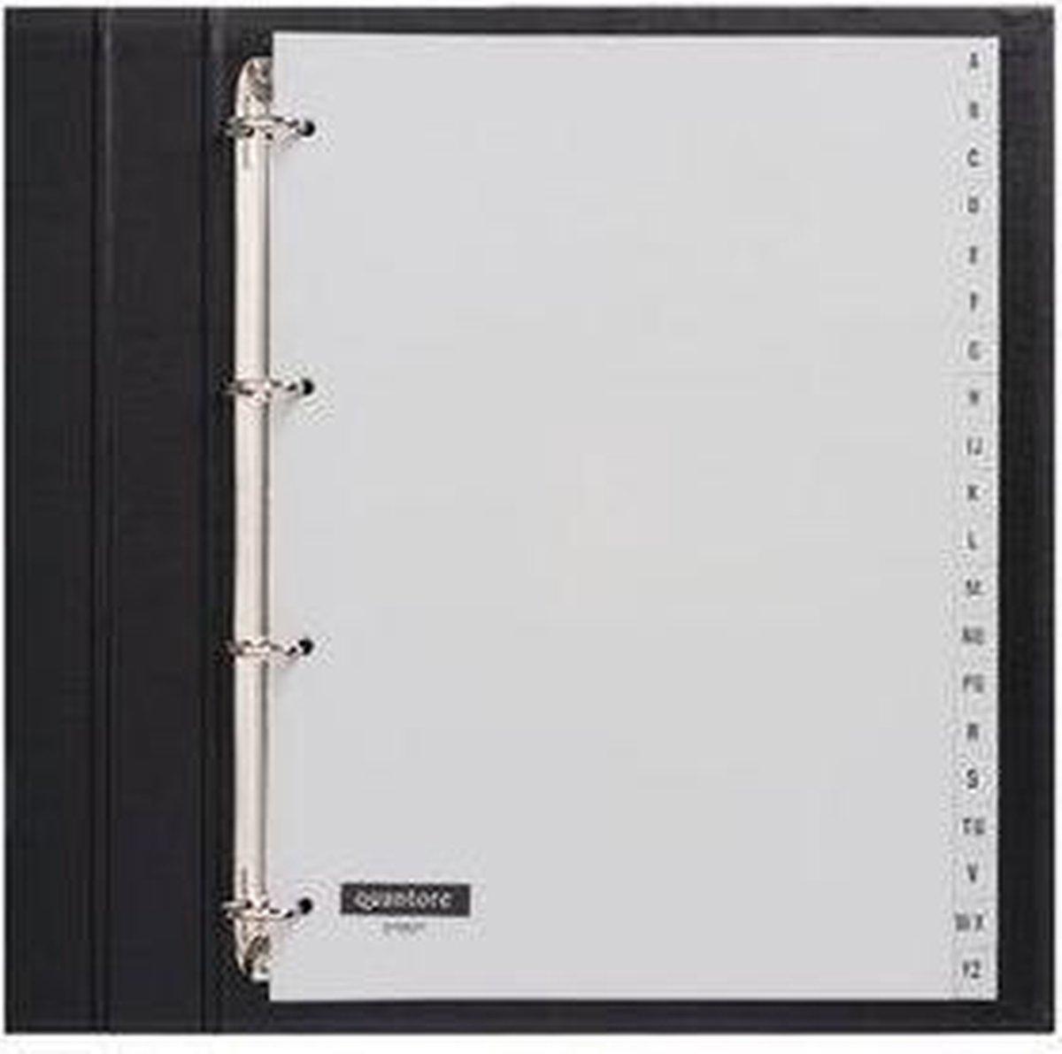 Quantore tabbladen - 4-gaats - alfabet - grijs - Quantore