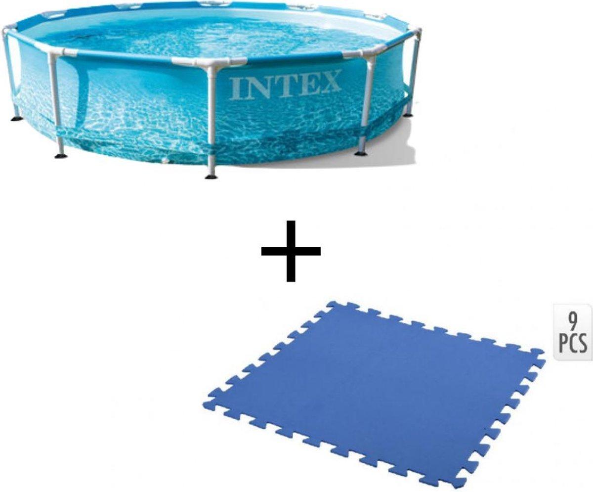 Intex Opbouwbaar Zwembad - Beachside Metal framepool 305x76 cm + INCL. Free And Easy Zwembadtegels Foam Blauw 9 Stuks