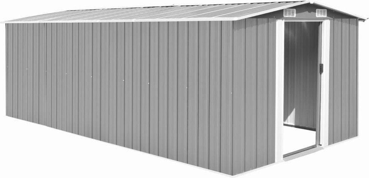 VidaXL Tuinschuur 257x497x178 cm metaal grijs online kopen