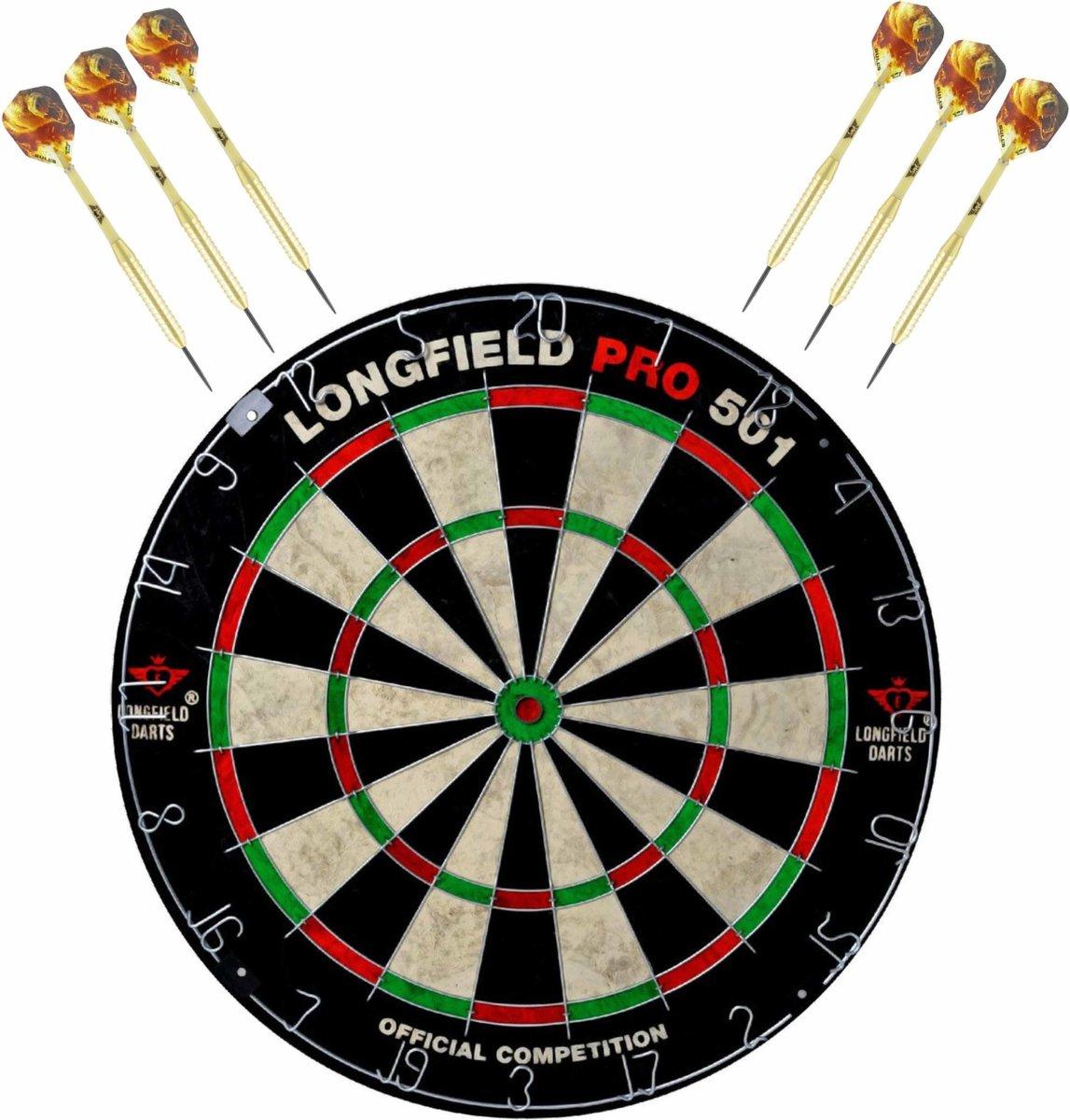 Dartbord set compleet van diameter 45.5 cm met 6x Bulls dartpijlen van 23 gram - Professioneel darten pakket