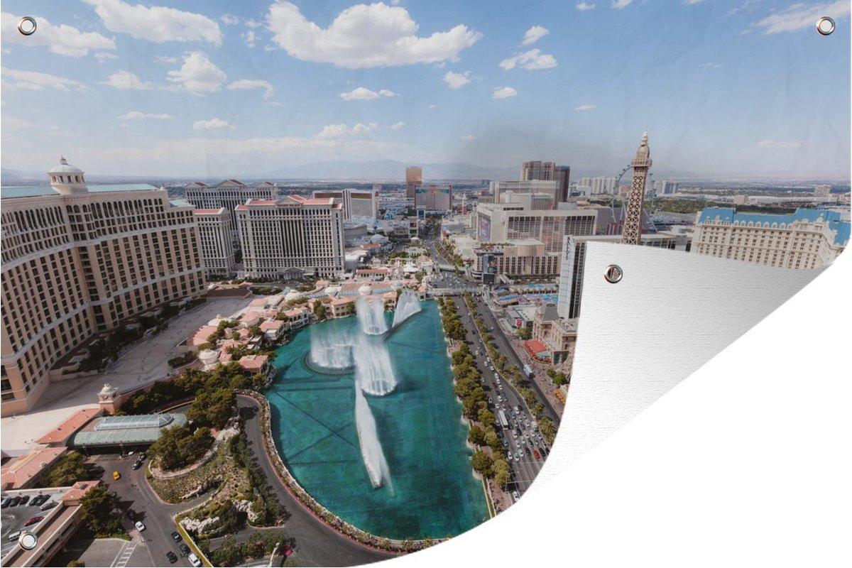 Tuindecoratie Las Vegas - Fontein - Stad - 60x40 cm - Tuinposter