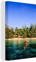 Boot op eiland Ko Tao in Thailand Canvas 20x30 cm - klein - Foto print op Canvas schilderij (Wanddecoratie woonkamer / slaapkamer)