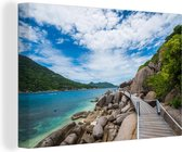 Pad Ko Nan Yuan eiland in Thailand Canvas 30x20 cm - klein - Foto print op Canvas schilderij (Wanddecoratie woonkamer / slaapkamer)