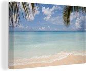 Uitzicht vanaf Grand Cayman op de heldere Caraïbische zee Canvas 140x90 cm - Foto print op Canvas schilderij (Wanddecoratie woonkamer / slaapkamer)