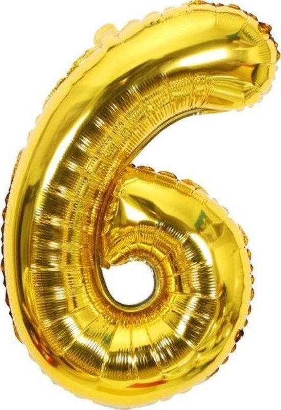 Folie Cijfer Ballon Groot   Goud   Cijfer 6   ± 82 cm   Maak je feestje compleet met deze mooi ballon!