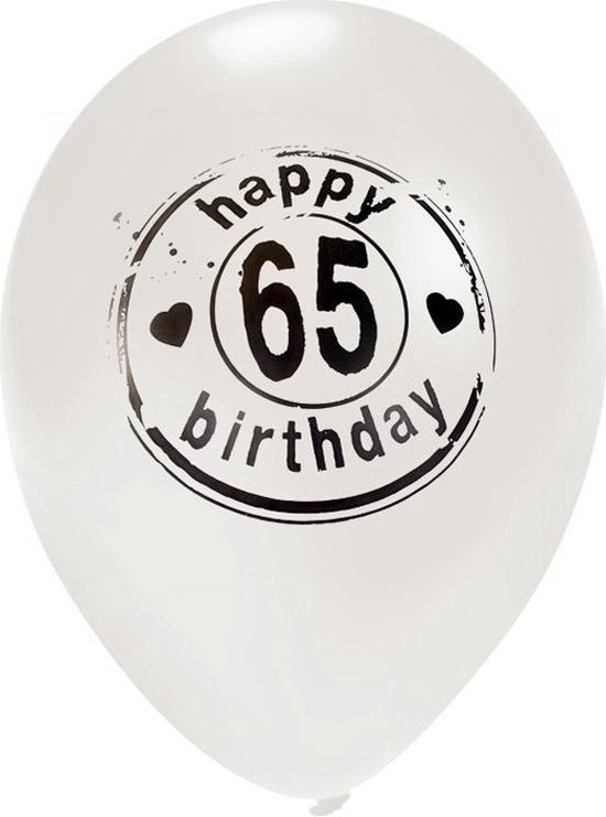 Ballon 'Happy 65 Birthday' Wit - 50 Centimeter