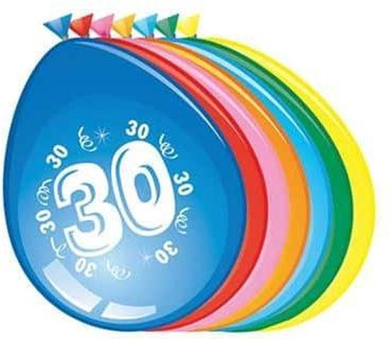 Ballonnen 30 jaar - 30cm - 8st