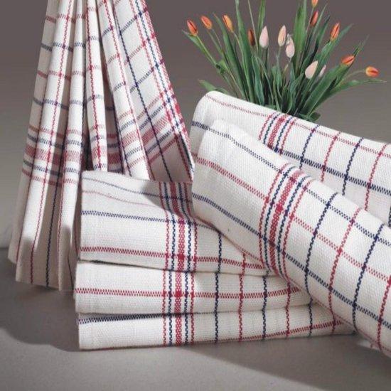 Homéé® Theedoeken Nationale ruiten rood / blauw 100% katoen - set van 12 stuks - 65x65cm