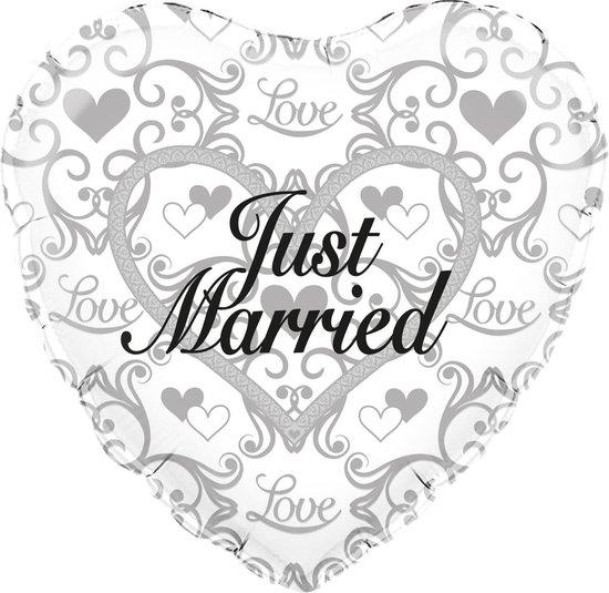 Folieballon - Huwelijk - Just married - 45cm - Zonder vulling