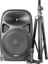 Vonyx SPS152 Actieve Speaker 15 inch SD/USB/MP3/BT met Standaard