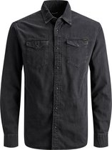 Jack and Jones Sheridan Heren Overhemd Zwart Kent Slim Fit - M