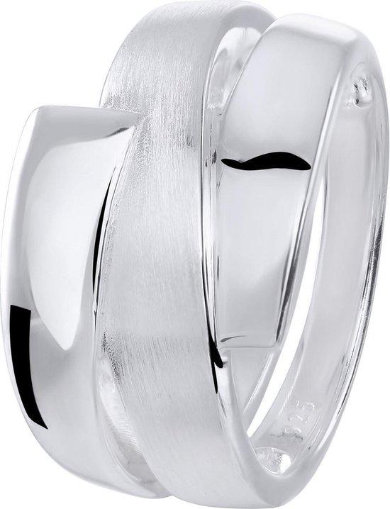 Lucardi Ringen - Zilveren ring mat/glans bewerkt
