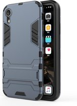 Let op type!! PC + TPU Shockproof Protective Case with Holder For iPhone XR (Navy Blue)
