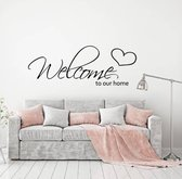 Muursticker Welcome To Our Home -  Groen -  160 x 59 cm  - Muursticker4Sale