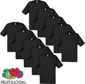 Fruit of the Loom T-shirt maat S 100% katoen 10 stuks (zwart)