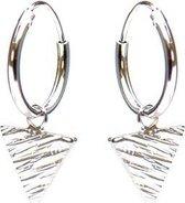 Karma 925 Sterling Zilveren Hoops Symbols Triangle Woodprint Oorknoppen  - Zilver