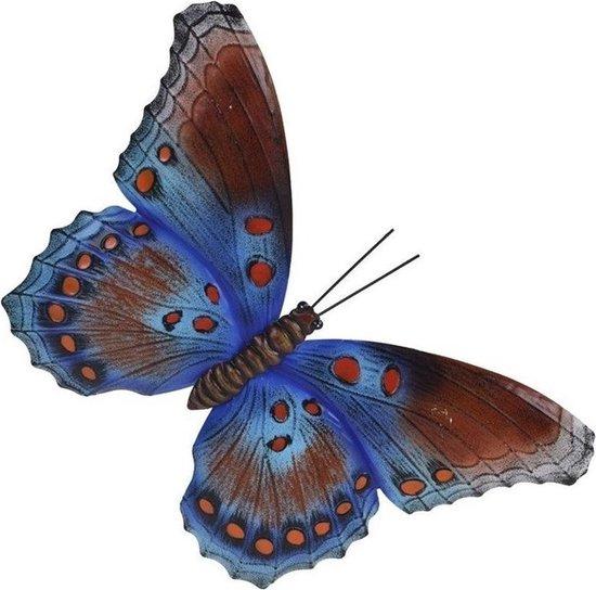 Bol Com Tuin Schutting Decoratie Bruin Blauwe Vlinder 35 Cm Tuin Schutting Schuur