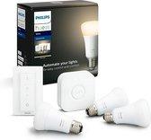 Philips Hue Starterspakket E27 Lichtbron met Bridge en Dimmer Switch - White - 3 x 9W - Bluetooth