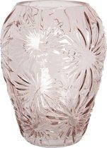 Clayre & Eef Vaas 6GL2930P Ø 16*20 cm - Roze Glas Glazen VaasBloempot Binnen