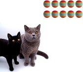 Make Me Purr Regenboog Ballen (10 stuks) - Kattenspeeltjes - Kattenspeelgoed - Speelgoed voor Katten - Kat Speeltje Bal - Kitten Speeltjes Balletjes