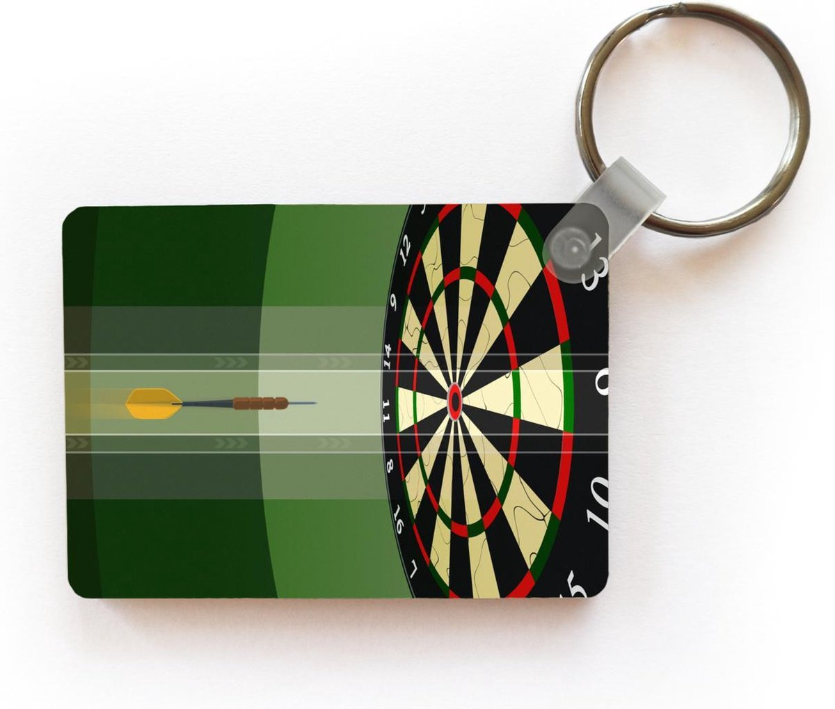 Sleutelhanger Darten illustratie - Een illustratie van een dartpijl richting het midden van het dartbord sleutelhanger plastic - rechthoekige sleutelhanger met foto