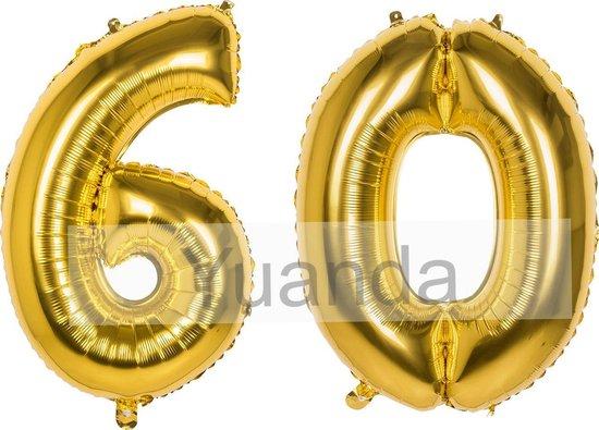 60 Jaar Folie Ballonnen Goud - Happy Birthday - Foil Balloon - Versiering - Verjaardag - Man / Vrouw - Feest - Inclusief Opblaas Stokje & Clip - XL - 115 cm