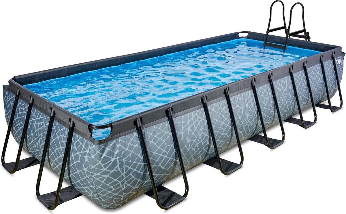 EXIT Stone zwembad 540x250x100cm met filterpomp - grijs